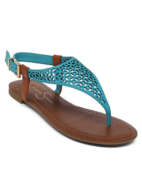 Jessica Simpson %100 Deri Sandalet Mavi